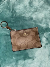 EUC Coach Skinny Mini Wallet Card Case Key Ring Brown  Leather  Beautiful!