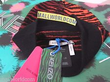 NWT KENZO x H&M Patterned Wool Blend Hat Tiger Striped Red Beanie UNISEX