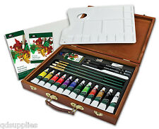 26 PIECE ARTIST PREMIER DELUXE OIL COLOUR PAINT TUBES WOODEN CASE SET OIL2030