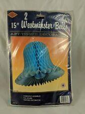 "Beistle 15"" Westminster Bells Art Tissue Decoration BLUE"