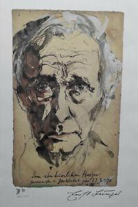 Horst Janssen Lithographie Portrait Ernst Jünger, gerahmt
