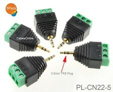 5-Pack 2.5mm TRS Male Jack to AV 3-Screw Terminal Block Balun Connector