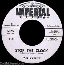 FATS DOMINO-STOP THE CLOCK-Rarer Rock R&B Promotional Only 45-IMPERIAL #5875