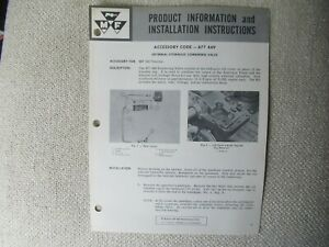 Massey Ferguson MF180 tractor hydraulic valve install instructions brochure