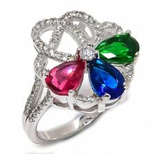 Blue Sapphire, Ruby, Emerald, Cz 925 Sterling Silver Ring Size 6 SR-422