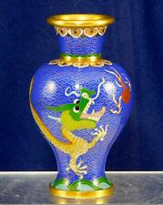 Vintage Beautiful Blue Cloisonne Vase with a Green Dragon and Red Bug