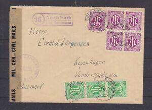 AM-POST Auslandsbrief DK MiNr 3 (3) + 7 (5) Landpost Bernbach 23.4.46 (B-5600)