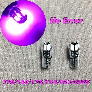 Parking Light T10 SMD LED Wedge BULB 194 175 2825 168 12961 W5W PURPLE PINK W1 E