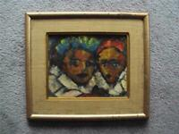 BERTHA SCHOENBACH OIL PAINTING PA. ARTIST GEORGES ROUAULT FANS IMPRESSIONIST