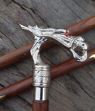 Vintage design Antique Nickle Dragon Handle cane Walking Stick Designer Vintage