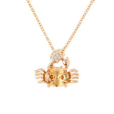 """Rose Gold Plated 22mm Crab Pendant Citrine Crystal Necklace 17.5"""" Chain (H97/2)"""