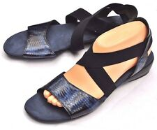 LN Munro Ariel stretch Strappy Sandal Snake Print Navy Blue Comfort Shoes 9M USA