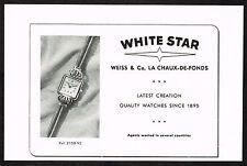 1950s Original Vintage 1950 Weiss White Star Swiss Watch Print Ad