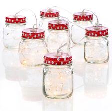 Mason Jar LED String Lights Red and White Polka Dot Lids From RAZ