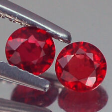 CHARMING VVS AA PAIR ROUND FIERY RED RUBY NATURAL