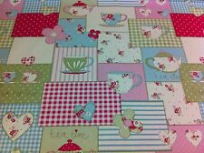 Fryett`s Cotton Tea Time Pink Shabby Chic Fabric for Curtain/upholstery Crafts
