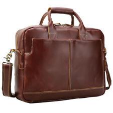 "Men Real Leather Business 15.6"" Laptop Case Briefcase Case Attache Shoulder Bag"