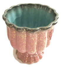 Vintage Hull Pottery USA Spatter Paint Pink Gold Gray Turquoise Pedestal Planter