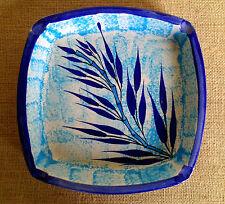Vintage Early Signed Eduardo Vega Ceramic Blue Bamboo Ashtray Tiki Mid Century
