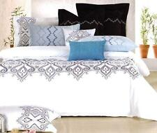 6P ALEXIS QUEEN Quilt Cover Set White Embroidery GREY Blue Soft-Feel Duvet Doona