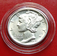 XCLT!  1943  Silver Mercury Dime, 95% Full Split Bands w NICE HOLDER included.