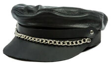 Mascorro Men's Flat Top Genuine Leather Biker Cap with Chain, Black Leather C58