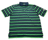 Footjoy Golf Country Club Mens Green Striped Short Sleeve Polo Shirt Size Large
