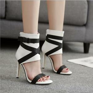 Fashion Womens Open Toe Ankle Boots High Heels Sandals Buckle Strap Shoes Party