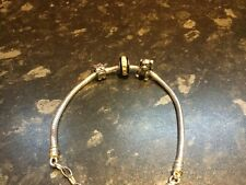 Genuine Sterling Silver (Italy 925) Pandora Charm Bracelet With 3 Charms