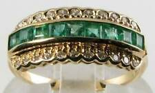 LOVELY 9CT 9K GOLD EMERALD DIAMOND ETERNITY ART DECO INS RING FREE RESIZE