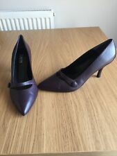 New Jones The Bootmaker Cleo Aubergine Purple Leather Court Shoes Size 8