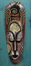 Tiki Mask Tribal Aboriginal Art Decor dot Wood Bali Colorful wall hanging