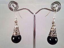 Perla hecho a mano Negro Cónico Espaciador colgantes pendientes Gallina Fiesta Discoteca