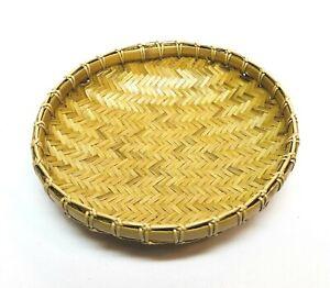 "1/3/6/12 PCS 7"" Round Shallow Bamboo Display Winnowing Basket Tray Thai Decor"