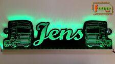 """LED Leuchtschild LKW z.B. """"Jens"""" + Trucks grün 12/24V, Name + Farbe wählbar"""