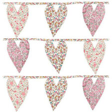 Sass & Belle Vintage Floral Hearts Fabric Bunting Garland Tea Party Decoration