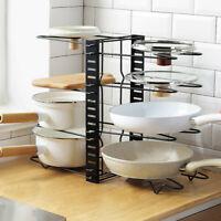 Adjustable Pan Lid Holder Storage Rack Pot Cover Organizer Kitchen Accessories