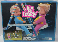 Vintage 1985 CBS IDEAL JIM & DANDY Twin TODDLER DOLLS ACTION SWING SET New NRFB