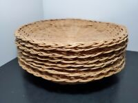 Vintage Wicker Rattan Paper Plate Holders Set of 8  Picnic Bbq Camping 9.5 in  Q