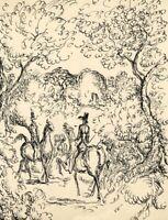 Harold Hope Read, Victorian Gentlemen Riders in Woodland-1920s pen & ink drawing