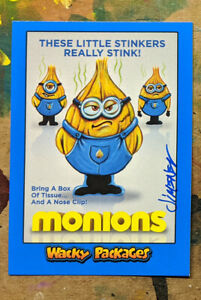Signed Topps Wacky Packages Goes To The Movie Blue Border Minions Parody