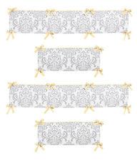 Cute Luxury Yellow Gray & White Damask Girl Boy Baby 4 Piece Crib Bumper Pad