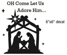 """Oh Come Let Us Adore Him Christmas Decal Sticker for 8"""" Glass Block DIY Crafts"""