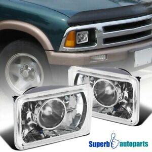 4X6 Projector Seal LED Beam Headlights Head Lamps Pair w/H4 Bulbs