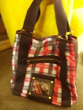 Juicy Couture Red White Black Plaid Purse Tote