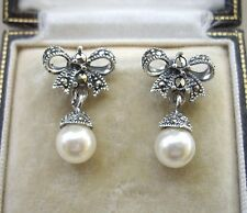 Deco Inspired Marcasite Silver Bow & Faux Pearl Drop Earrings