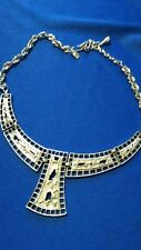 "Fashion Statement Bib Style 18"" Roget Signed Necklace Silver Tone"
