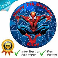 SPIDERMAN PERSONALISED ROUND PRINTED EDIBLE BIRTHDAY CAKE TOPPER DECORATION