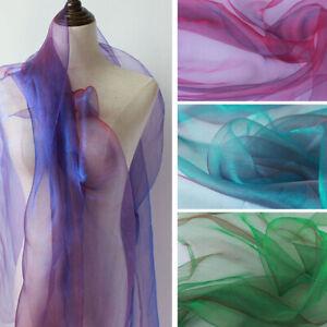 Iridescent Color Like 2 Tone Crystal Yarn Gauze Fabric 150cm Wide By Yard