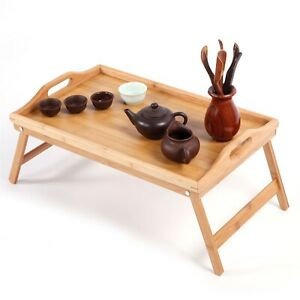 TV Dinner Folding Snack Table Bamboo Laptop Picnic Tea Coffee Newspaper Camping